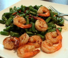 Coconutty Limey Shrimp with Green Beans and Pine Nuts