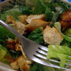 Cooking in a mostly empty house – easy chicken Caesar salad