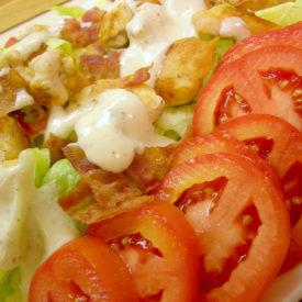 Delightful Chicken B.L.T. Salad (Bacon, Lettuce, Tomato, of course)