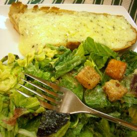 Easy Garlic Cheese Bread and Caesar Salad
