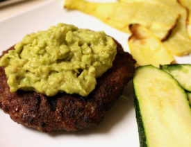 "Guacamole Burgers with Squash ""chips"""