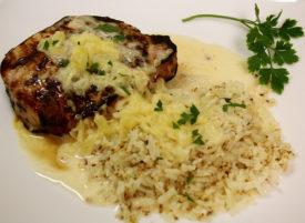 Pina Colada Pork with Cauliflower Rice