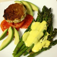 Turkey Burgers and Asparagus with Hollandaise
