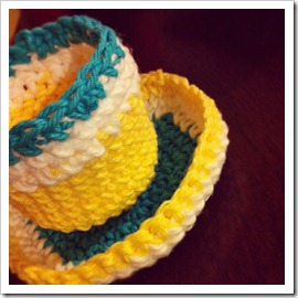 crocheted cup and saucer