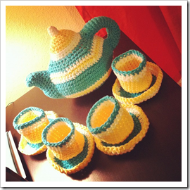 finished tea party set crocheted