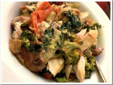 Veggies-And-Chicken Alfredo