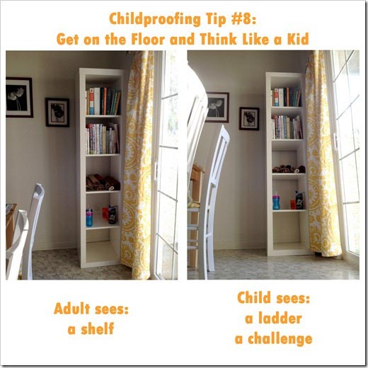 Think like a child. Is it a shelf or a challenge?