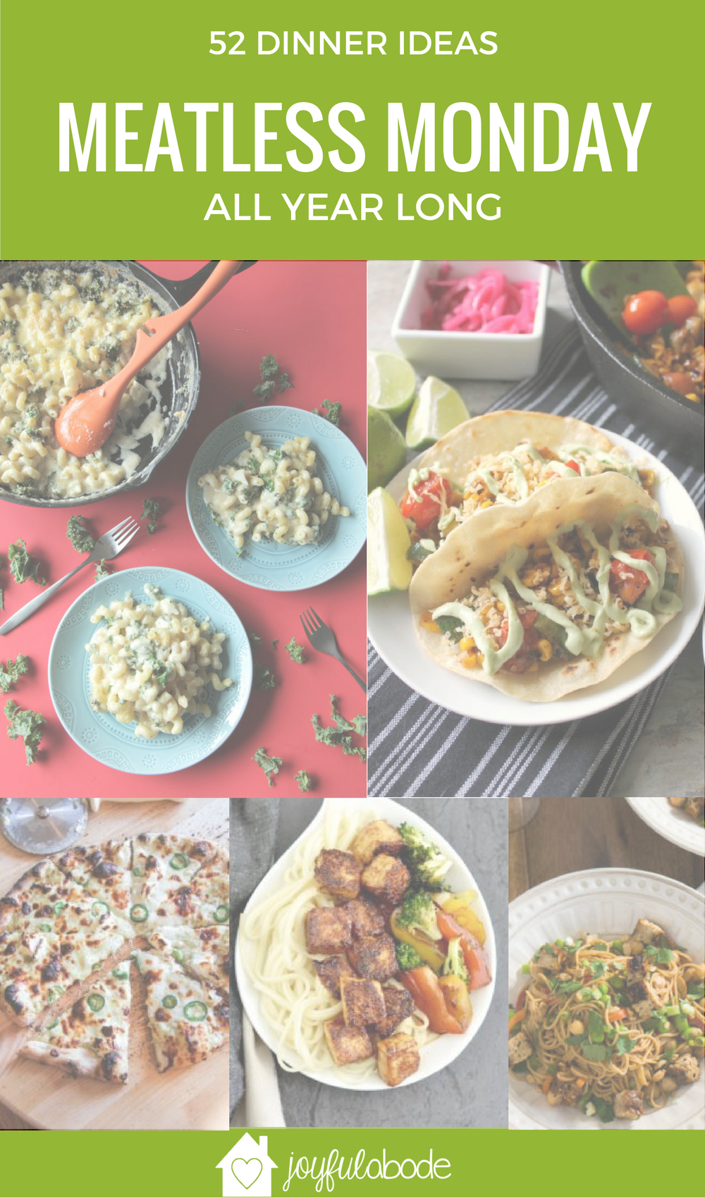 Need some meal planning ideas for your meatless Monday dinners? This post has 52 vegetarian recipes - a full year of Meatless Monday menu planning!