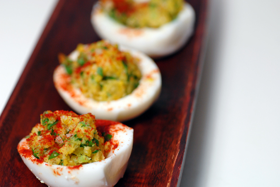 I love the idea of adding shallots and celery to deviled eggs!