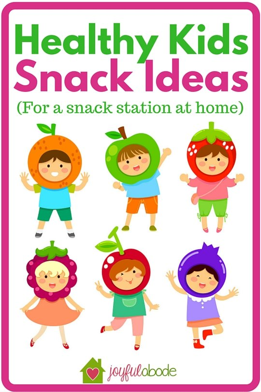 """Snack ideas for a healthy kids snack station at home - make one of these and never worry about your kids saying """"I'm hungry!"""" again - there's always a good choice to eat."""