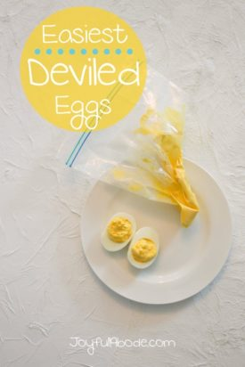 Easiest Deviled Eggs - Use your favorite recipe, but mix the filling in a ziplock freezer bag. Then, just cut off the corner and pipe the filling directly into the eggs. No mess!