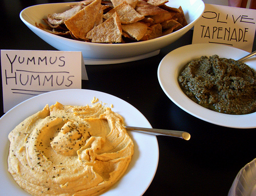 hummus, pitas, and olive tapenade