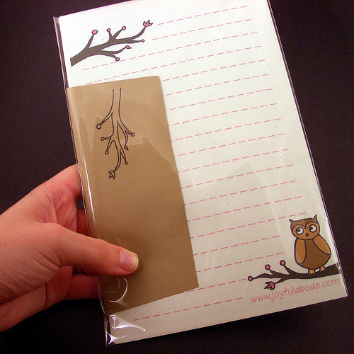 handmade original owl stationery gift set