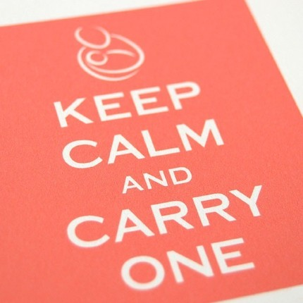 Keep Calm and Carry On parody postcards -- Babywearing special