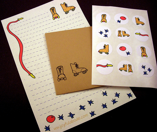 unique illustrated nostalgic roller skate stationery set