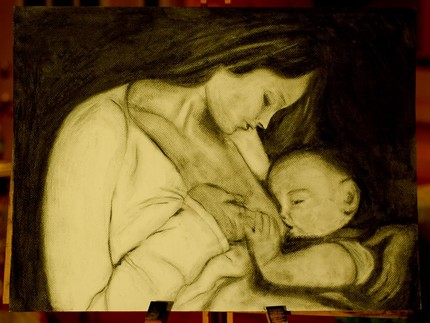 Custom Breastfeeding, Pregnancy, or Babywearing Drawing
