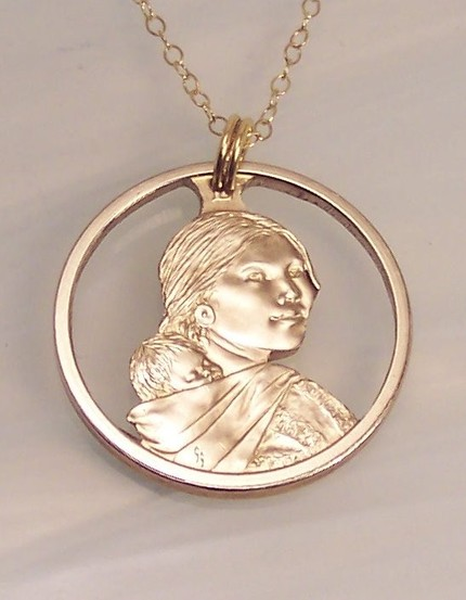 Cut coin Sacagawea American Indian necklace unique gift for coin collector