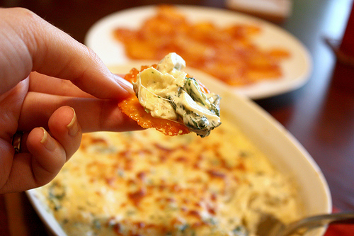 Artichoke dip and cheese crisps