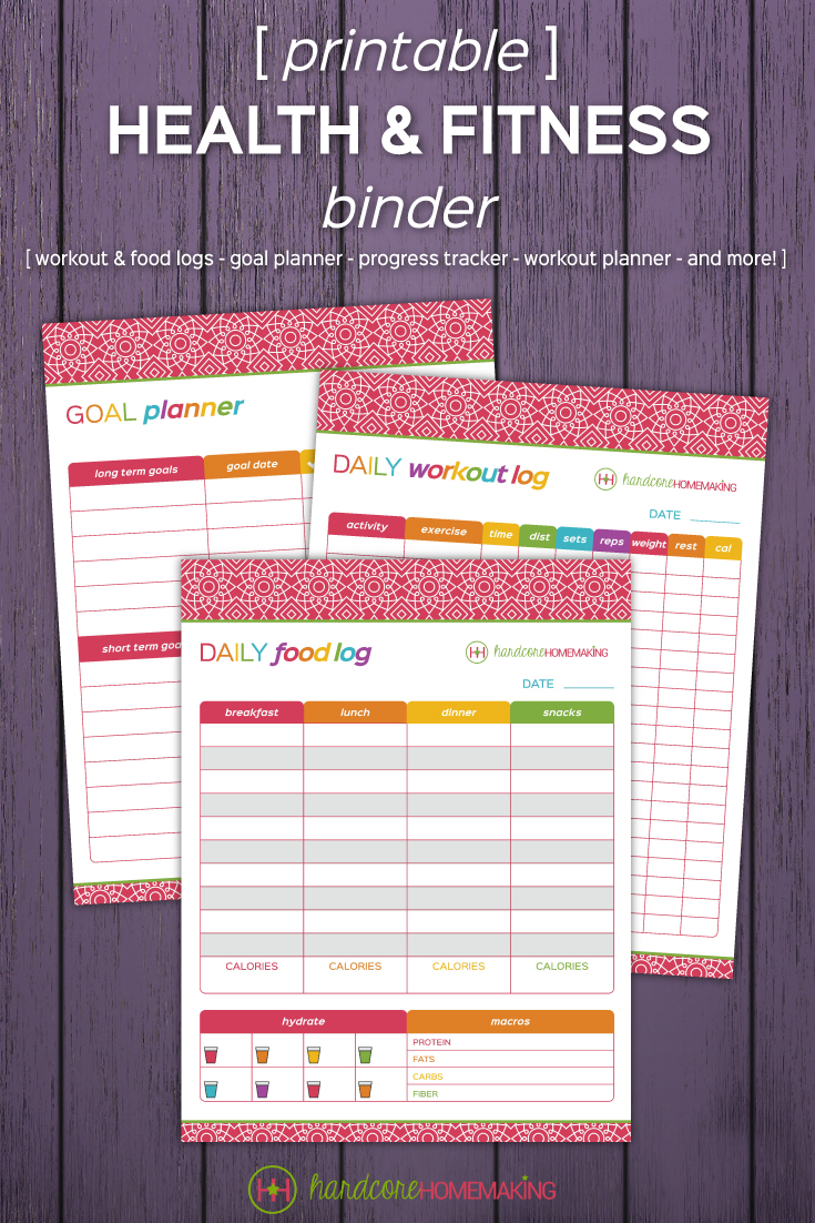 Grab your printable health and fitness binder - stay on track with your health goals all year long! Workout logs, food logs, goal planner, progress tracker, workout planner, and more. 12 sheets, plus binder dividers, cover, and spine labels.