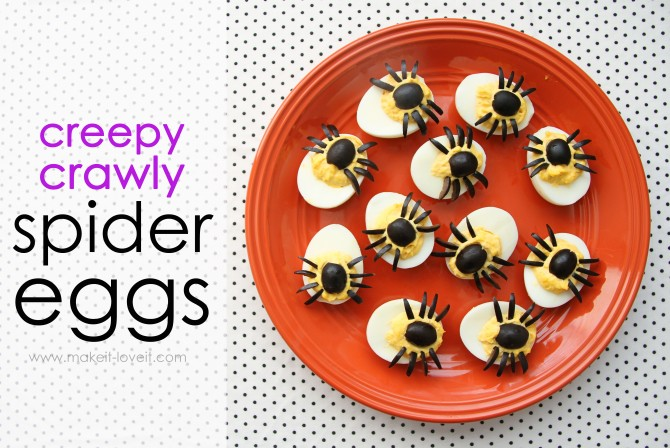 Creepy Crawly Spider Eggs - Deviled eggs for halloween parties! Just use black olives. What a fantastic idea!