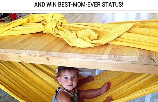 How to make a woven wrap hammock - table hammock for kids - and win best mom ever status.