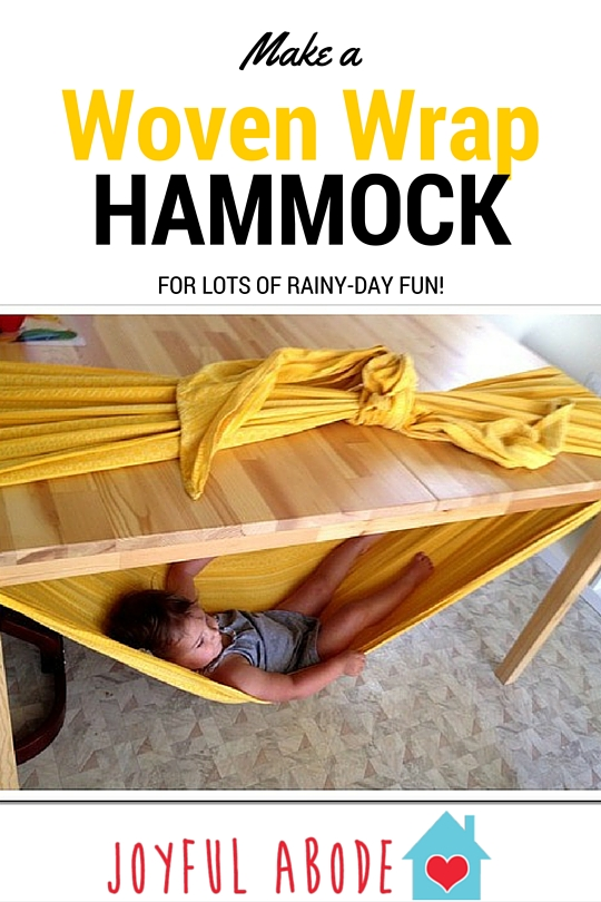 Make a woven wrap hammock for lots of rainy-day fun. Great kids indoor activity.