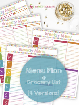 Printable Menu Planner With Grocery List - Laminate or Frame and use dry-erase or vis-a-vis markers for a reusable planner!