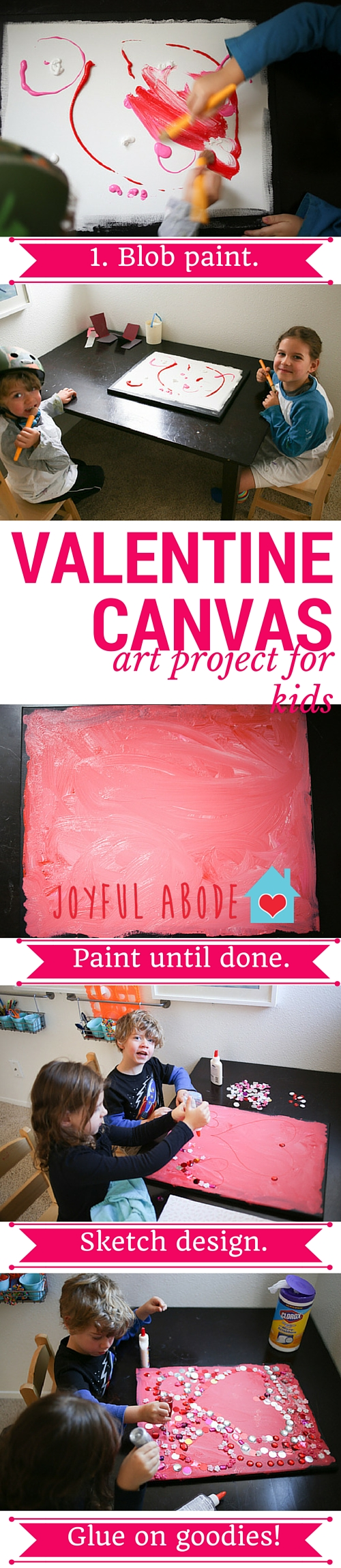 Valentine canvas - art project for kids - fun and easy DIY for preschoolers and kindergarteners.