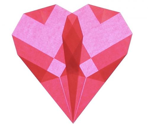 folded paper window hearts