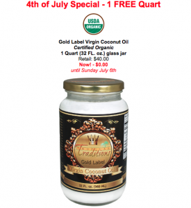 free gold label quart of coconut oil from tropical traditions