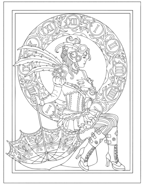 Steampunk fashions adult coloring book? Yes please!