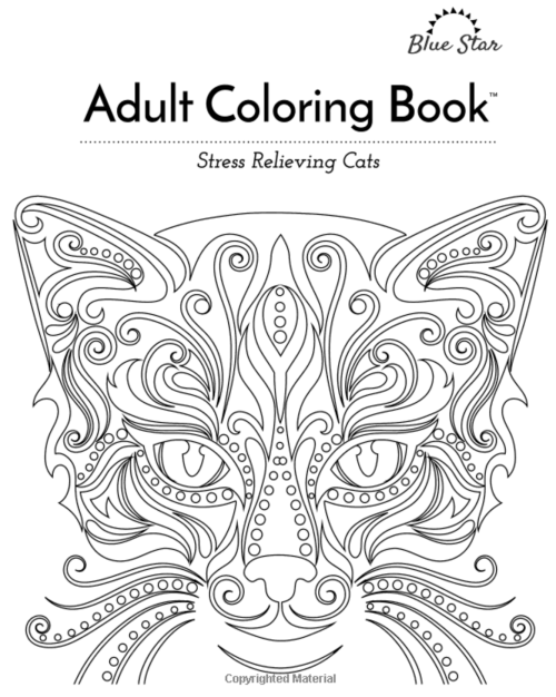 This adult coloring book full of stylized cats looks so pretty and fun to color!