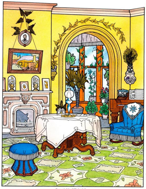 Love all the details in this adult coloring book - full of victorian houses and rooms.