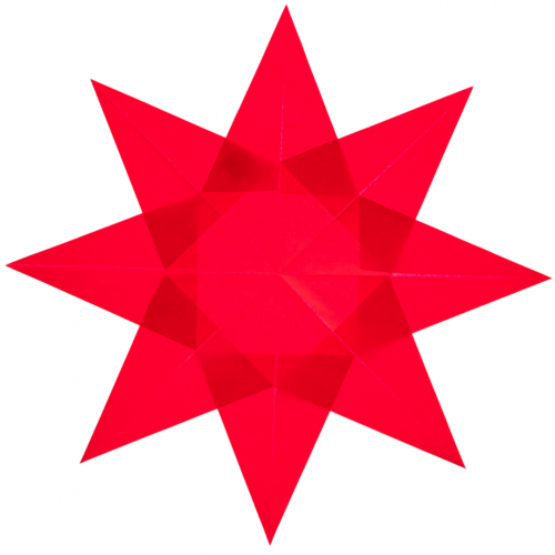 red folded paper waldorf star