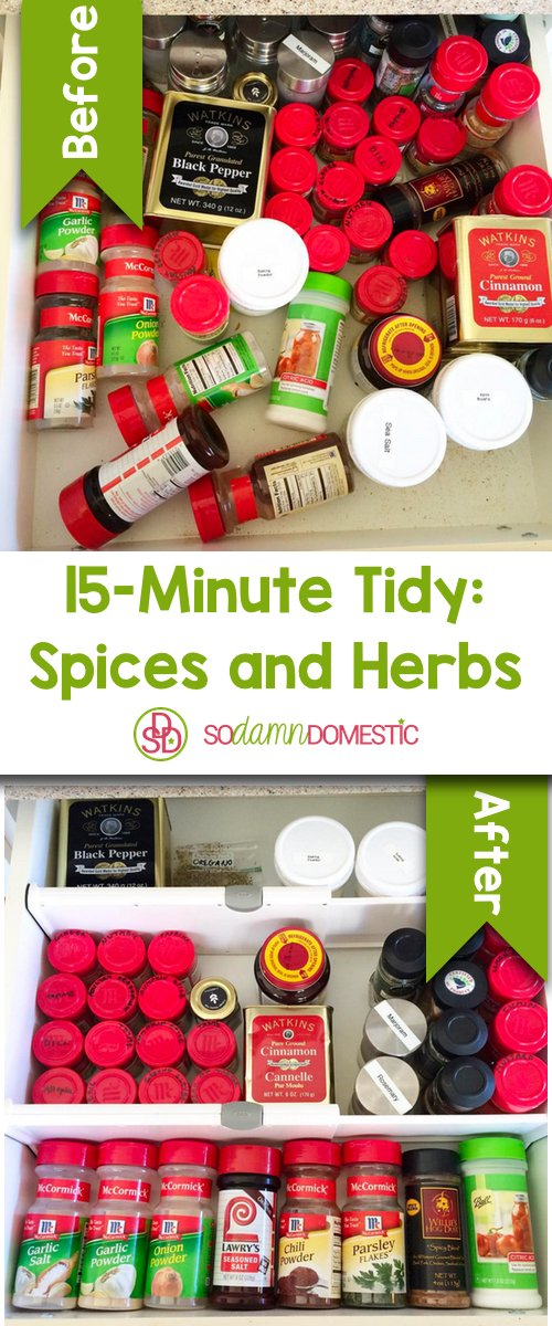 15 minute tidy - how to organize kitchen spices and herbs