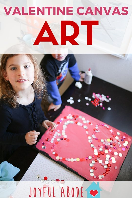 Valentine canvas art project for kids. My preschooler and kindergartener had so much fun doing this!