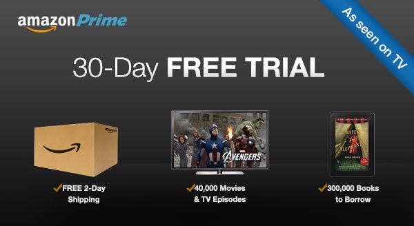 Get an amazon prime 30 day trial free