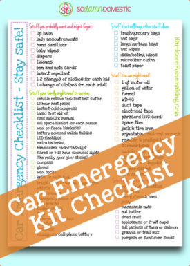 car emergency kit checklist printable PDF