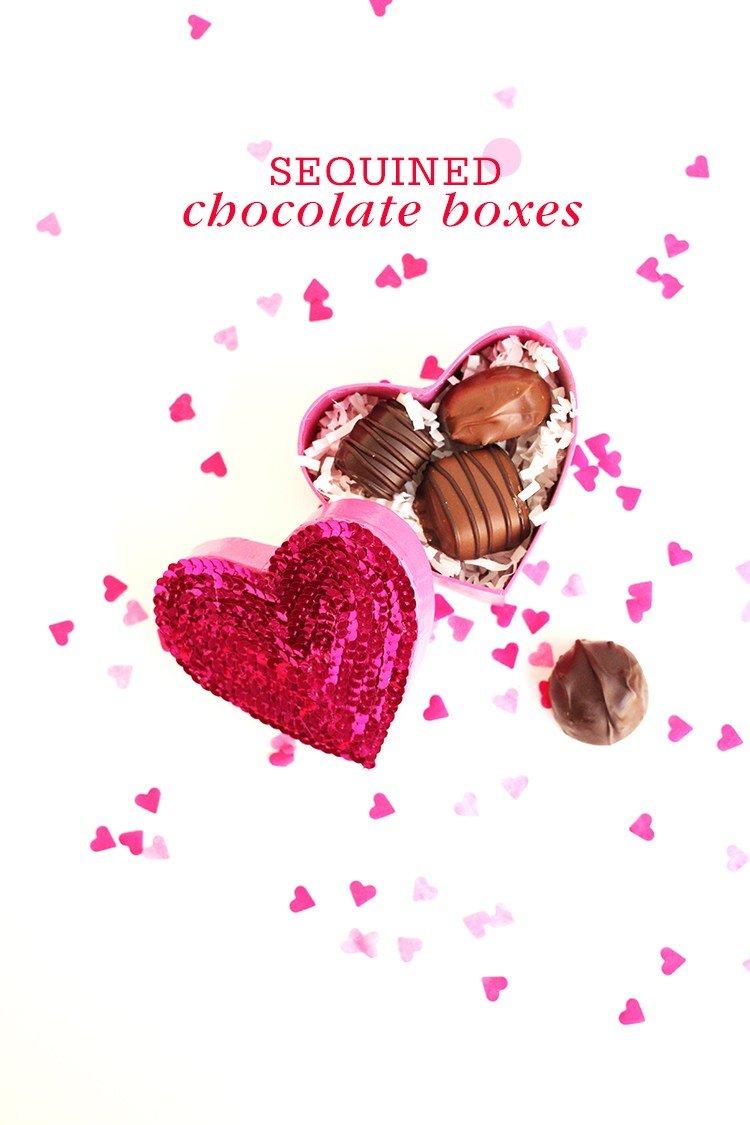 diy sequined valentine boxes