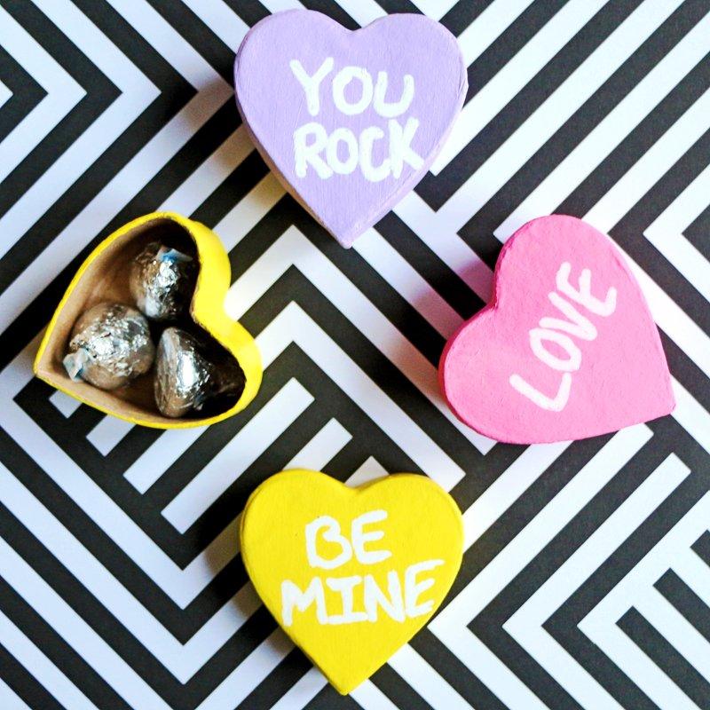 painted conversation hearts valentine boxes