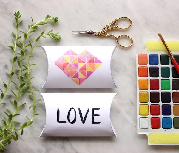 geometric heart pillow box valentine boxes