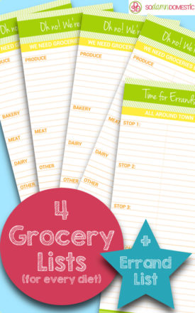 free grocery list and errand planner printables