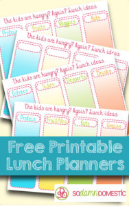 free printable lunch planners