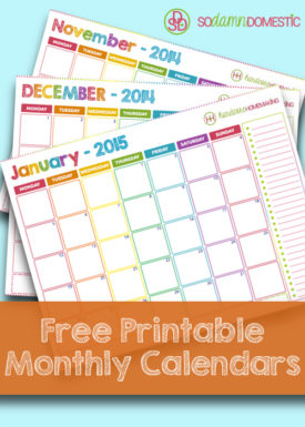 FREE printable monthly calendars!