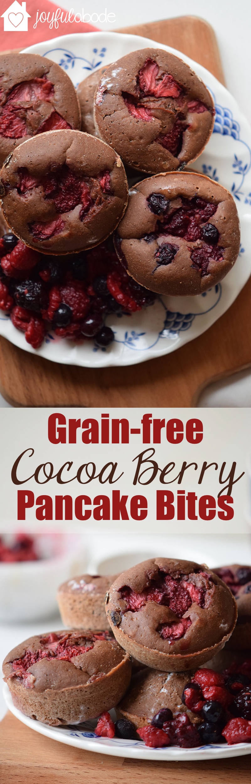 These grain-free dairy-free chocolate almond berry pancake bites are amazing. Little paleo muffins of delight! Make this recipe for breakfast or brunch and you won't be disappointed.