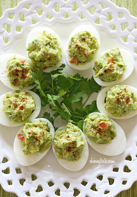"""My mom adds hard boiled eggs to her guacamole, so I thought, 'Why not add guacamole to hard boiled eggs?'"" Guacamole deviled eggs recipe"