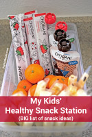 My kids' healthy snack station (with a big list of snack ideas)