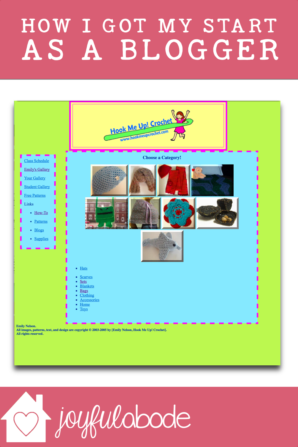 flashback to my very first website of my own - hook me up! crochet. It was my first taste of having a place of my own on the internet, and I've never looked back!