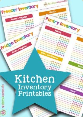 kitchen inventory printables (freezer, fridge, pantry)