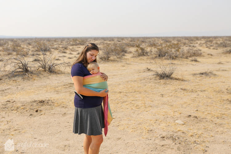 living in the desert pros and cons - mother and son babywearing in wrap conversion ring sling-2